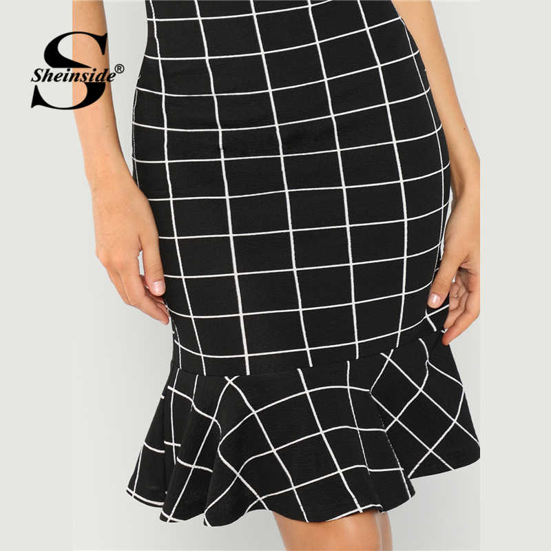 Sheinside сетки печати рюшами подол Bodycon платье 2019, женская обувь весна черный элегантный миди платья для женщин женские офисные Платье-футляр облегающее платье