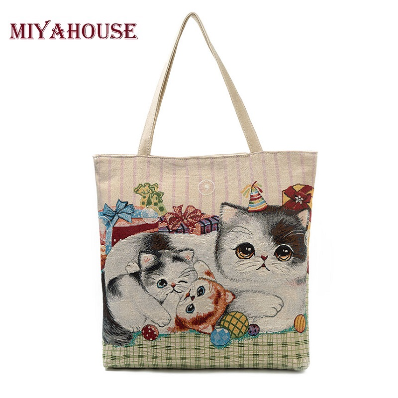 Miyahouse Cute Cat Printed Beach Bag Women Large Capacity Shopping Bags Vintage Female Single Shoulder Bag Canvas Ladies Handbag forudesigns floral printed shoulder bags women large capacity female shopping bag summer ladies beach handbag blosas feminina