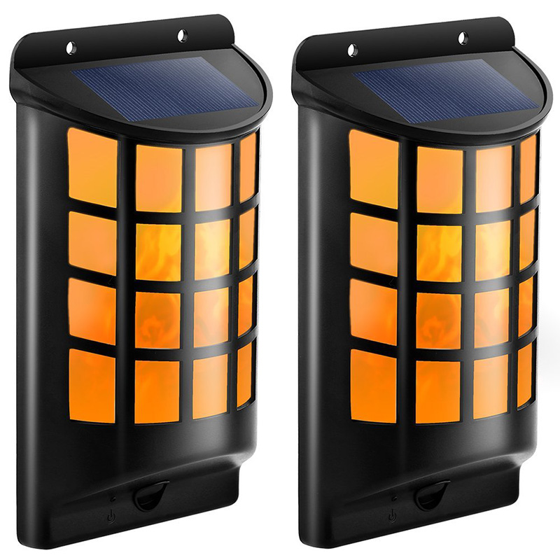 Solar Lamp Flame Light Wall Lights 66 LEDs Waterproof IP65 Flickering Flame Light Outdoor Garden Decor Warm White Solar Lamp jmkmgl solar flame lights path dancing flame lighting 66 led dusk to dawn flickering outdoor waterproof fence garden wall lights