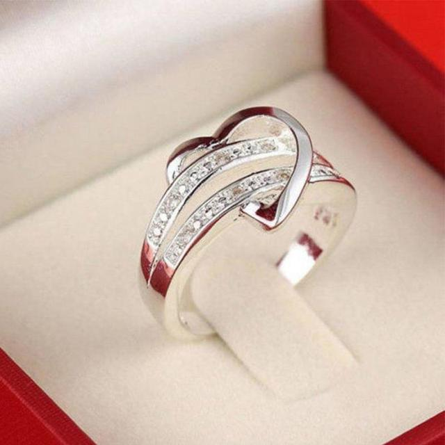 Newest Rings for Women Sliver Plated Bling Gem Stone Heart Love Rings female Ane