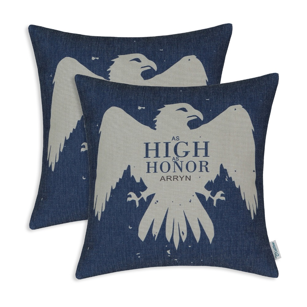 2PCS CaliTime Cushion Cover Decorative Throw Pillow Shell A Game of Thrones Houses Badages 18 quot X 18 quot 45cm X 45cm in Cushion Cover from Home amp Garden
