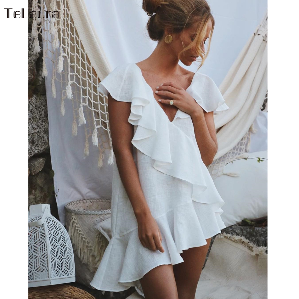 Swimsuit Cover-Up Beach-Dress Bikini Ruffle-Tunic White Women Summer V-Neck