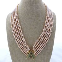 M012908 19 6 Strands Pink Pearl Necklace CZ Pave Beetle Connector