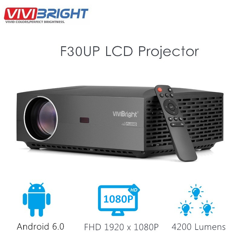 VIVIBRIGHT F30UP LCD Projector FHD Android 6.0 1920 x 1080P 4200 Lumens Bluetooth 4.0 WiFi 2GB RAM 16GB ROM Home Theater(China)