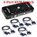 4 Port USB 2.0 KVM VGA SVGA Switch Hub Box Selector Adapter with 4pcs KVM VGA Cable for PC Keyboard Mouse Monitor