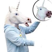 Unisex Das Mulheres Dos Homens de Cabeça de Cavalo de Látex Máscaras de Halloween Costume Prop Máscara Unicórnio Fantasia Prop Animal Cosplay Partido Headwear Novo