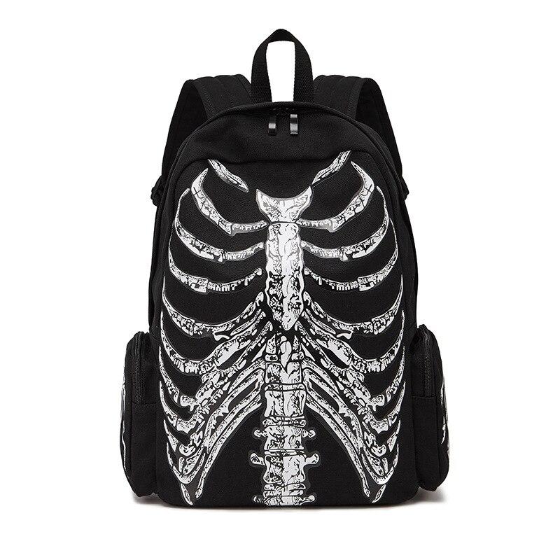 JIEROTYX Canvas Backpack Halloween Multifunctional School Bags Unisex Skull Skeleton Printed Backpack Gothic Designer Travel Bag