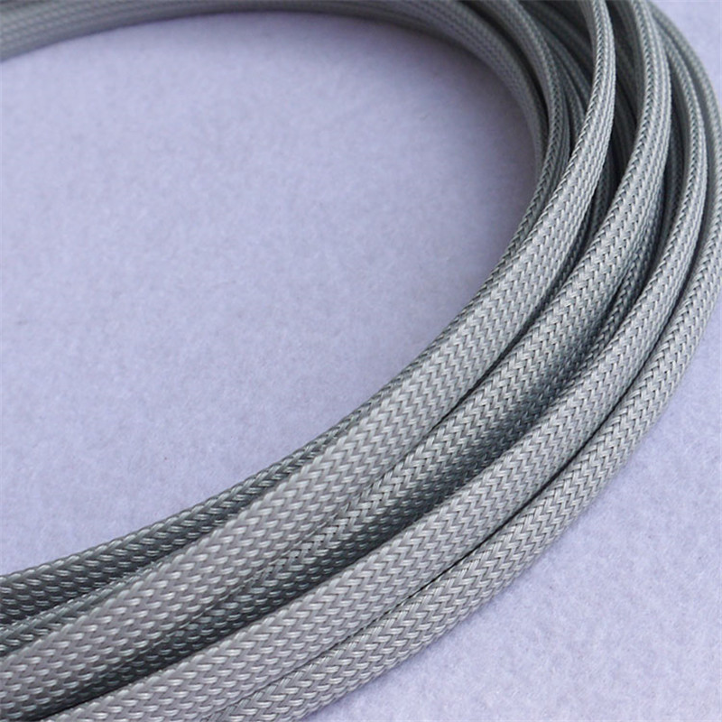 1 Meters High quality Gray 16mm Braided PET Expandable Sleeving High Density Sheathing Plaited Cable Sleeves DIY