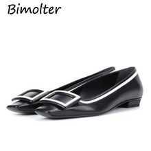 Bimolter 5Colors High Quality Cow Leather Shoes Geometric Line Square Toe Boat Fashion Casual Genuine NB066