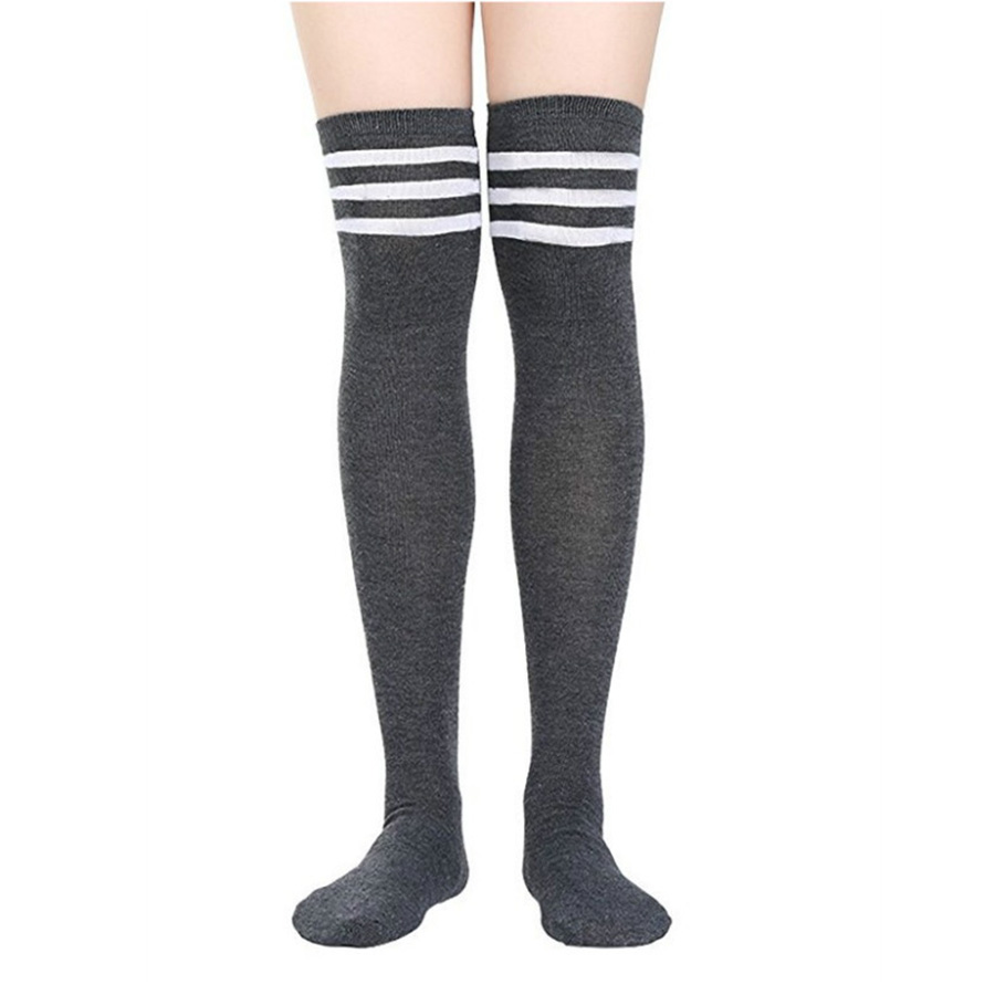 Lynmiss 1 Pairs Fashion Women Stockings Stripe Knee Sexy Women's Underwear Keep Warm Breathable Long Cotton Stocking Accessories