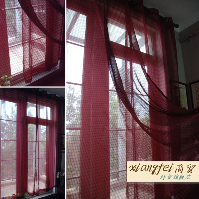 135 cm 240 cm wijn rode plaid punch afgewerkte gordijnen bourgondi voile gordijnen voor slaapkamer