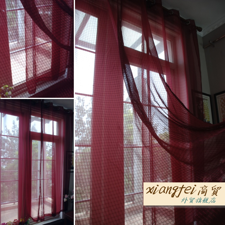 135cm*240cm Wine Red Plaid Punch Finished Curtains Burgundy Voile Curtains  For Bedroom And Living