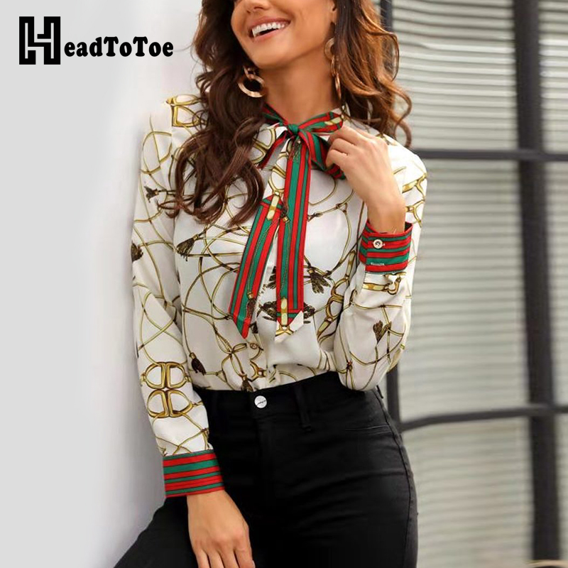 2019 Female Chain Print Casual   Blouse     Shirt   Women Elegant Bowknot Tie Turn-down Collar Office Work   Shirt   Long Sleeve   Blouse   Tops