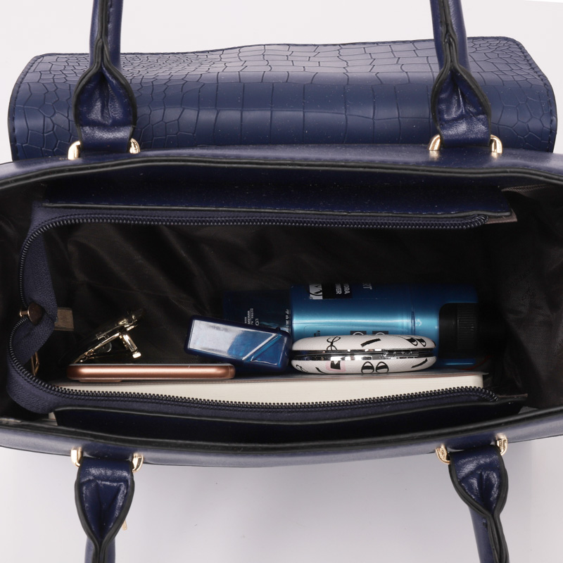 4Pcs Crocodile Pattern Women Handbags Set Ladies Fashion Shoulder Bag PU Leather Crossbody Bag For Women Purse Wallet Card Bag