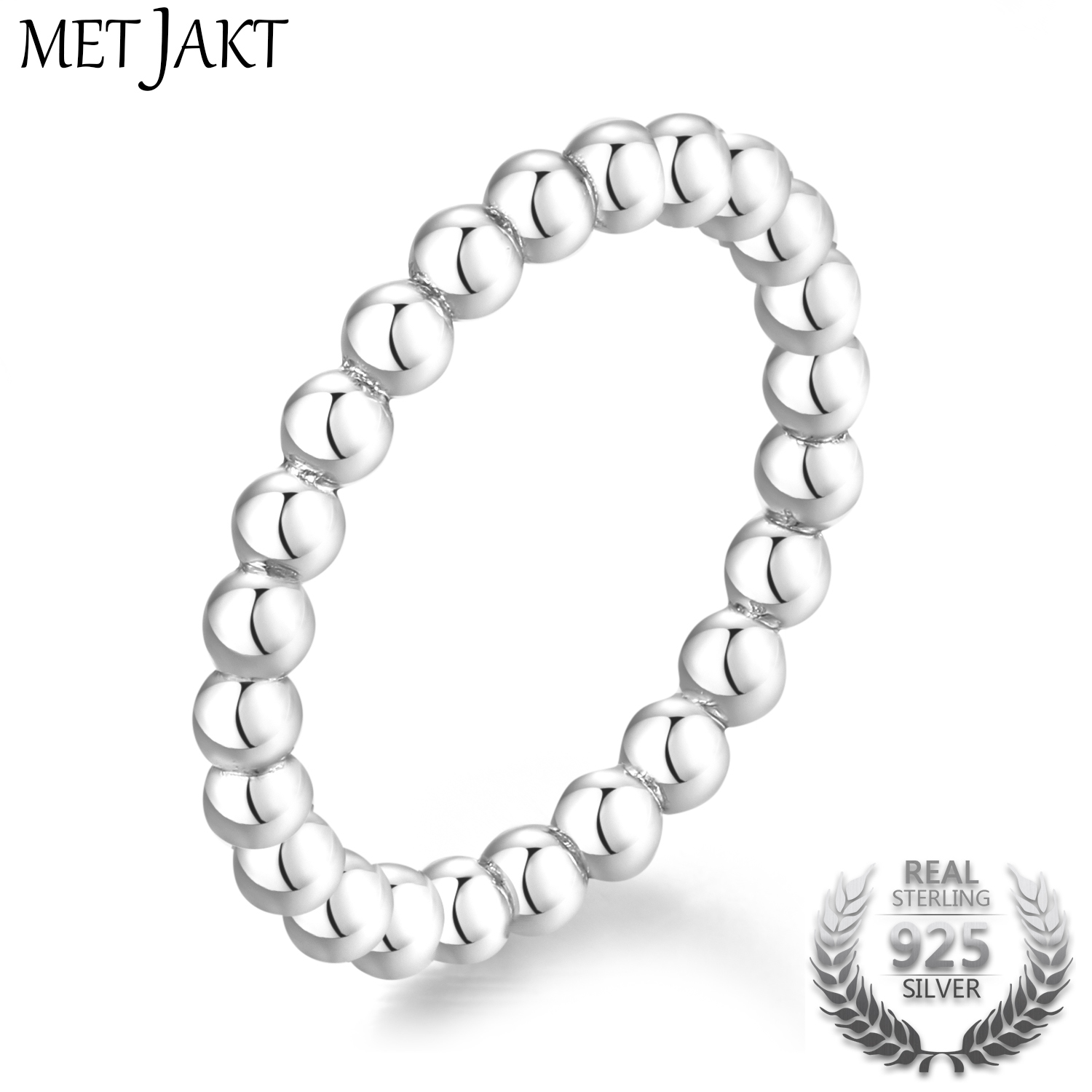 MetJakt 2.5mm 925 Sterling Silver Classic Simple Wedding Design Rings For Women's Jewelry