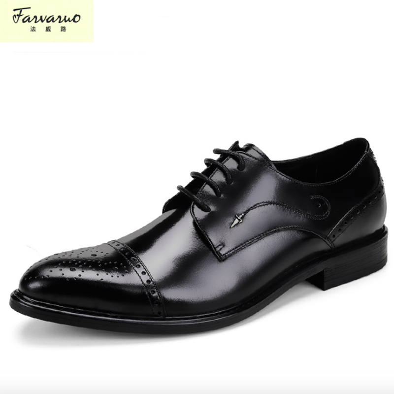 цена на 2018 Time-limited Sapato Masculino New Men 's Genuine Leather Shoes Men' S Dress Bullock Carved Business