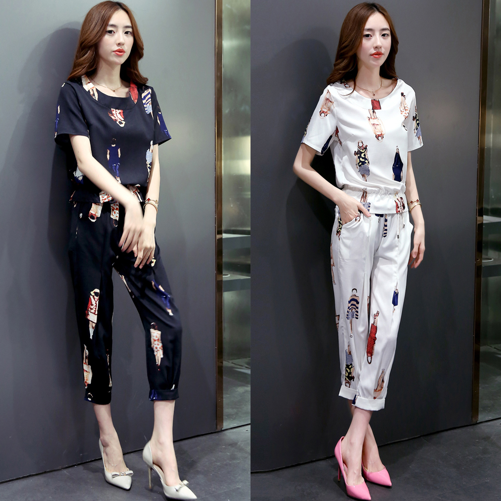 Women Set 2 Pieces Summer Lady Tops Women's Casual Suits Short Sleeve T-shirt Top + Capris Pants Cropped Trousers Two-piece Suit