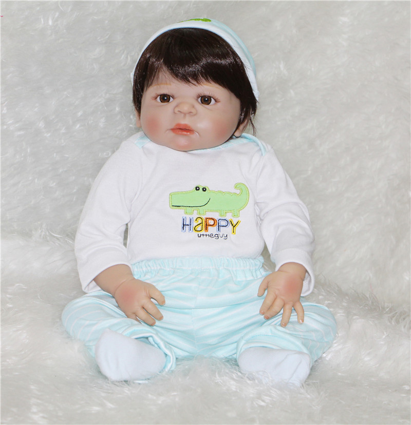 55cm Full Body Silicone Reborn Baby Dolls Toys  Newborn girl Boy doll Birthday bebe Gift reborn bonecas