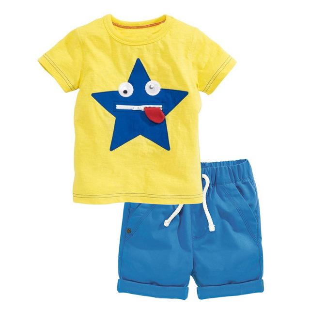 2017 Chegada Nova verão ano novo trajes Meninos Ativos Curto Animais O Pescoço Regular Pullover Colete conjuntos de roupas meninos t-shirt + calças