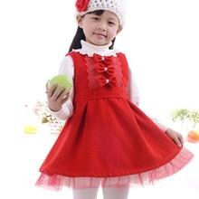 f59ab29d7c57 Rojo invierno niños vestido niñas chaleco arco Lolita estilo Mini Vestidos  para 2 3 4 6 8 10 años 2018 de moda de chicas ropa de.