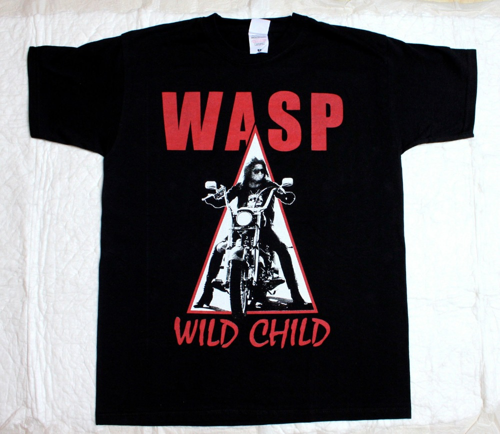 W.A.S.P. Wild Child85 Heavy Metal Band Wasp Twisted Sister New Black T-Shirt Cool Casual Sleeves Cotton T-Shirt Fashion