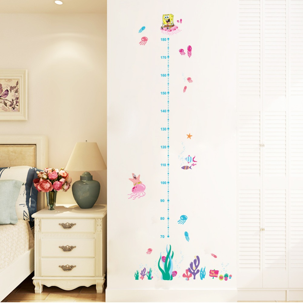 Kids Height Chart Wall Sticker Home Decor Cartoon Spongebob Height - Spongebob room decals