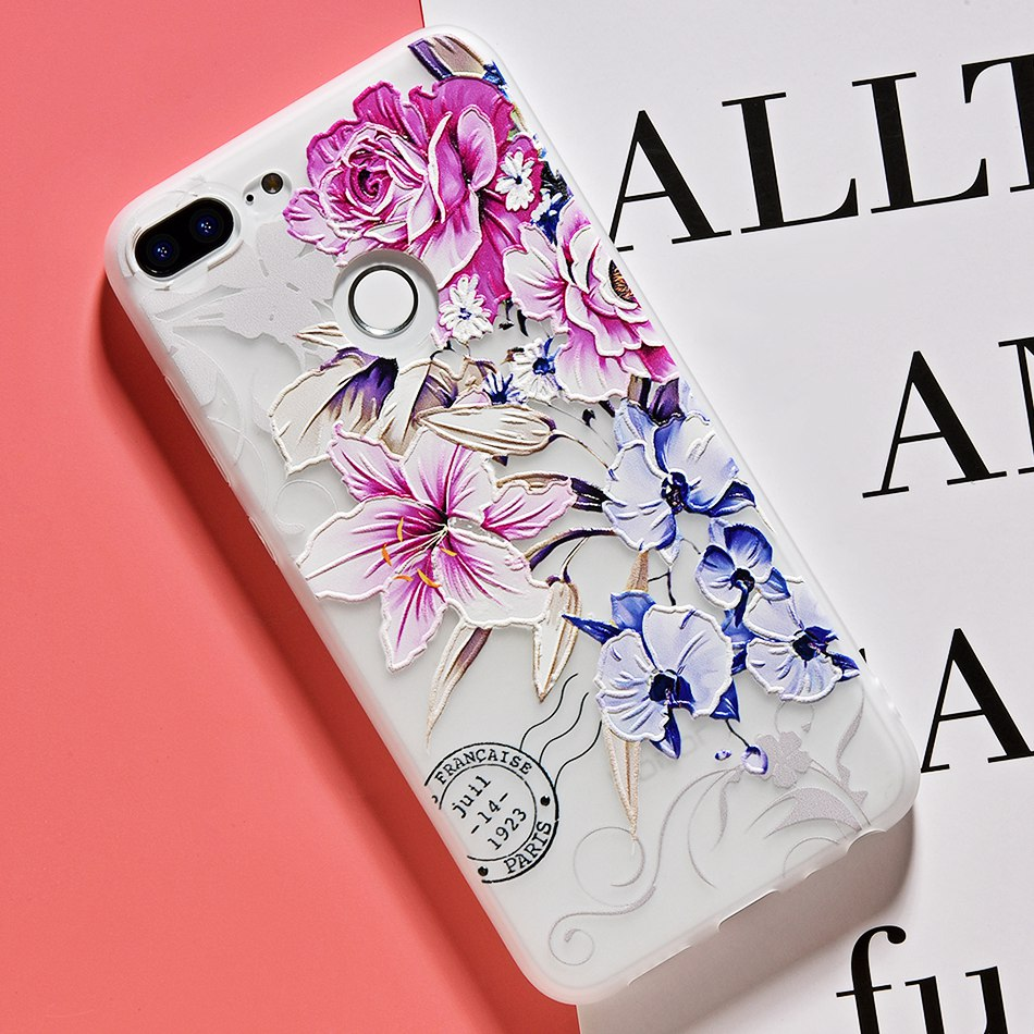 3D Relief Flower TPU Case For On Honor 9 9 lite Soft Silicone Case Back Cover Case for Huawei P20 P10 lite NOVA 2 Case           (14)