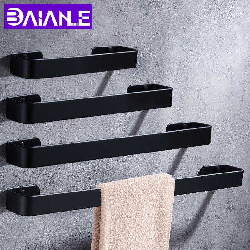 Towel Bar Black Space Aluminum Wall Mounted Single Washroom Towel Rack Hanging Holder Accessories Bathroom Towel Holder Square