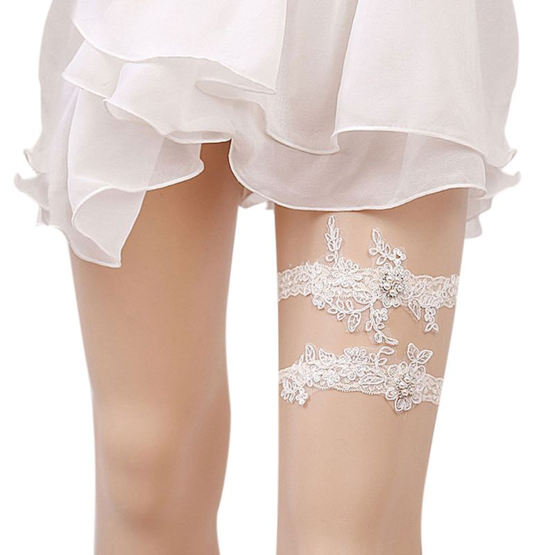 1 Set Women Vintage Wedding Garter Faux Pearl Embroidery Floral Lace Bridal Thigh Ring W15