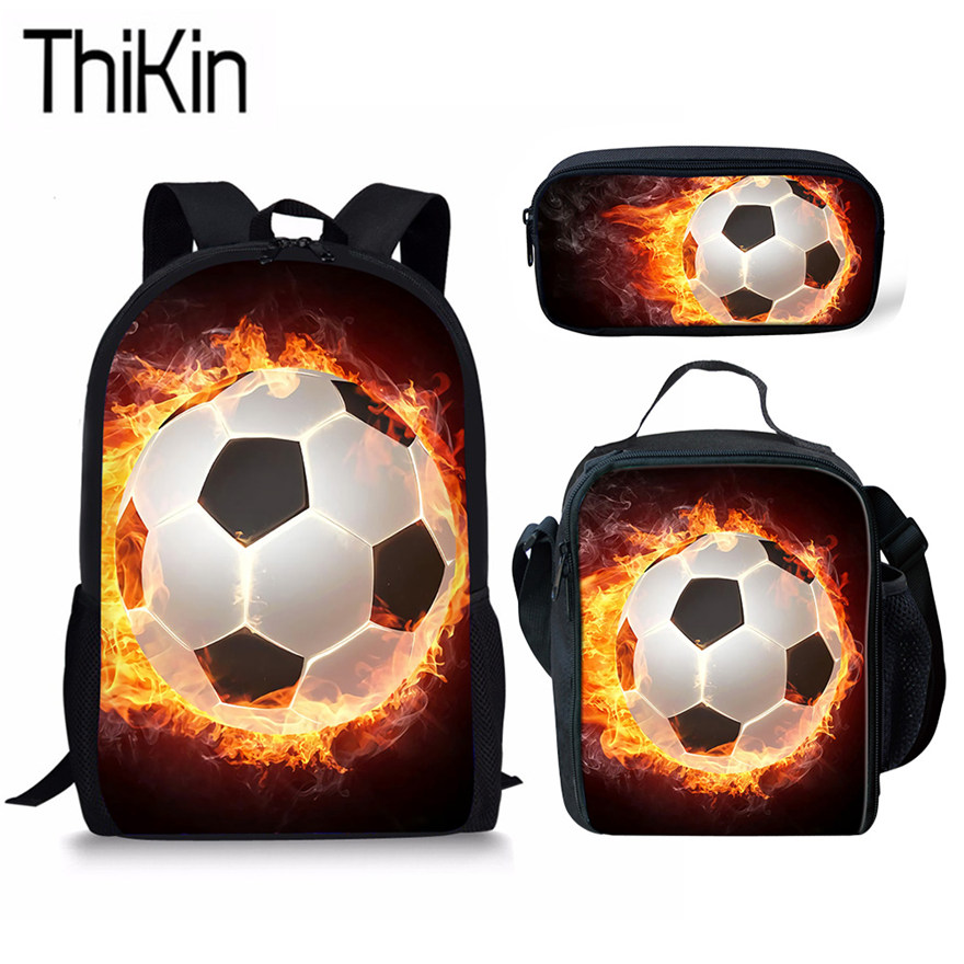 THIKIN Shoulder Bags For Kids School Bag 3pcs/set Foot Ball 3D Printing Schoolbag Backpack Children Lunch Box&Pencil Bag Boys