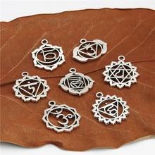 21 шт. античное серебро 7 Чакра подвеска Мандала Йога Ом буддийский Металл для изготовления ювелирных изделий