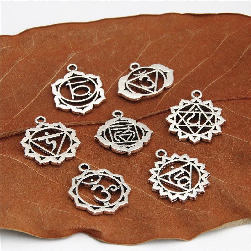 ①  21 шт. Античное серебро 7 чакра подвески мандала кулон йога ом буддийские металлические ювелирные из ✔