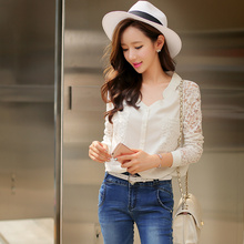 Dabuwawa free shipping white lace loose blouse