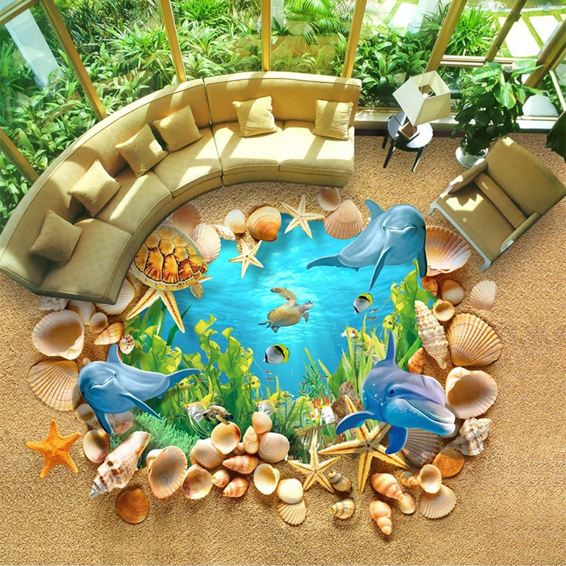 Custom Mural Wallpaper PVC Self Adhesive Waterproof 3D Submarine Shell Dolphin Floor Wall Papers Sticker Living Room Home Decor беговая дорожка clear fit enjoy tm 8 35 hrc