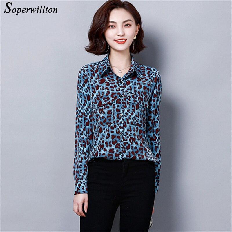 Blusas Leopardo Superior 4xl rojo amarillo Camisas Primavera 2019 Nuevo Tops 3xl Xxl Larga Azul Dama Mujeres Casual De Oficina Manga AqxwR0x