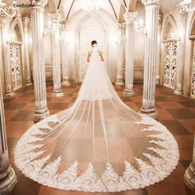 3 Meters White and Ivory Lace Cathedral Length Applique Edge Wedding Bridal Veil with Comb