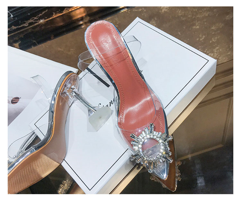HTB1eW24bEGF3KVjSZFmq6zqPXXa0 Women's high heel sandals 2019 summer new pointed low heel rhinestone decorative sandals 42 large size jelly shoes