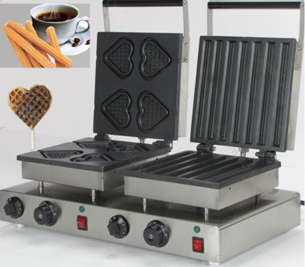 Double heads waffle machine HEARTS + CHURROS style electric waffle maker stainless steel Free Shipping мяч для водного поло mikasa мяч для водного поло трен mikasa w6609c резина размер женский желто синий
