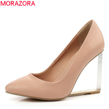 MORAZORA genuine leather shoes women pumps spring summer single shoes unique crystal wedges shoes woman party wedding shoes