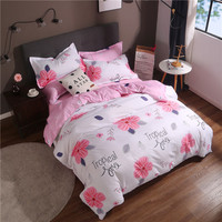 Modern Style Red Print Home Textile Bed Linen Duvet Cover Bedding Set Twin Full Queen King Size 4Pcs Pillowcases Bed Sheet Soft
