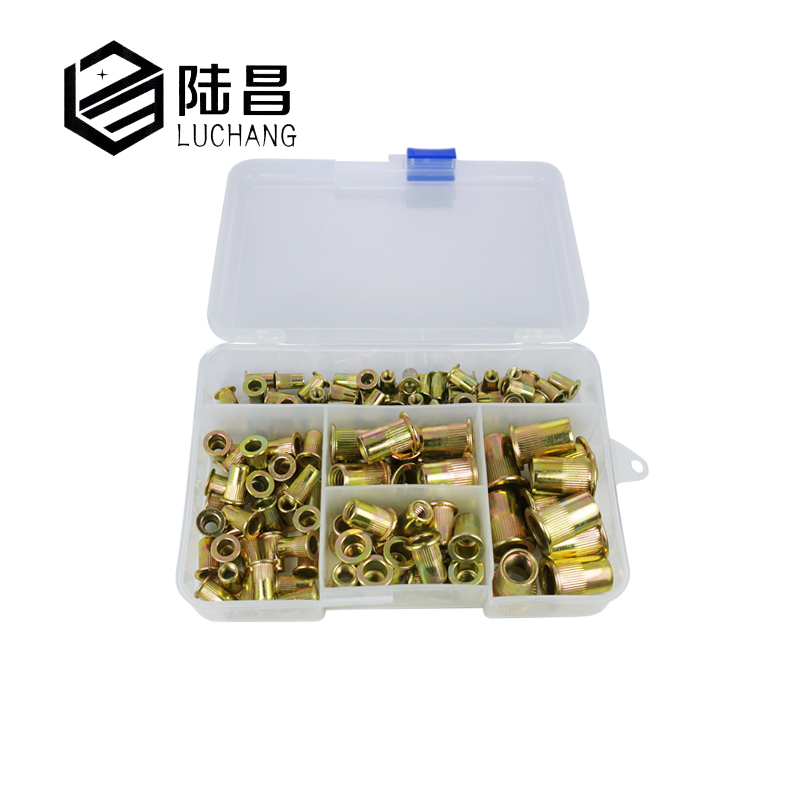 luchang 120Pcs/set M4 M5 M6 M8 M10 Zinc Plated Knurled Rivnut Flat Head Threaded Rivet Wood Insert Cap Furniture Nut Assortment 50 pieces metric m4 zinc plated steel countersunk washers 4 x 2 x13 8mm