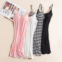 Modal spaghetti strap camisole women with pad medium long slim spring and autumn basic full slip plus size dress summer