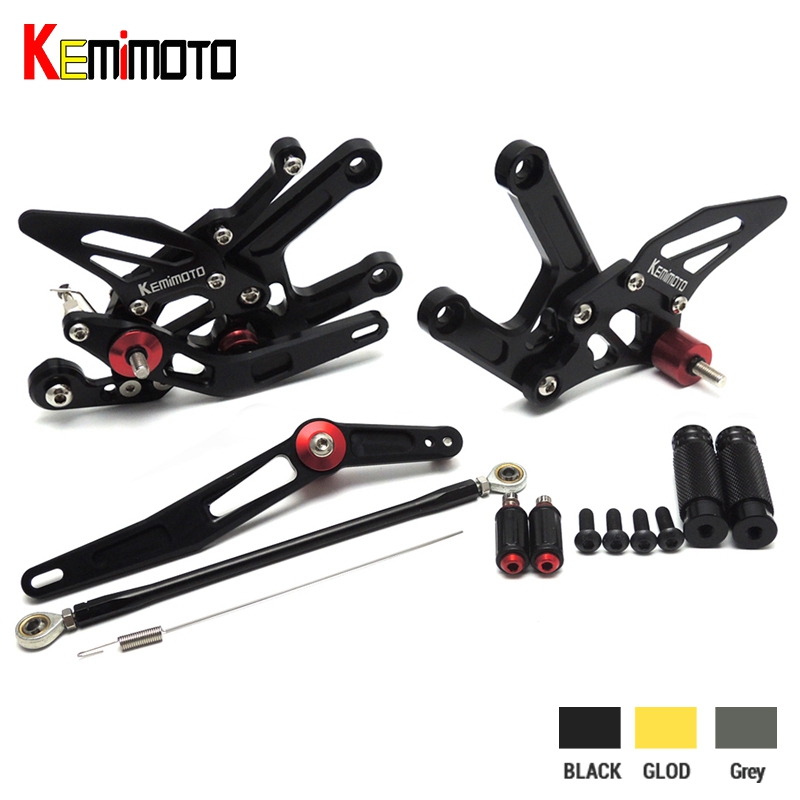 KEMiMOTO For Yamaha YZF-R6 Adjustable Rearset Footrests Pegs For Yamaha YZF R6 2006-2014 Motocyle Foot Rests Set 2010 2012 2013