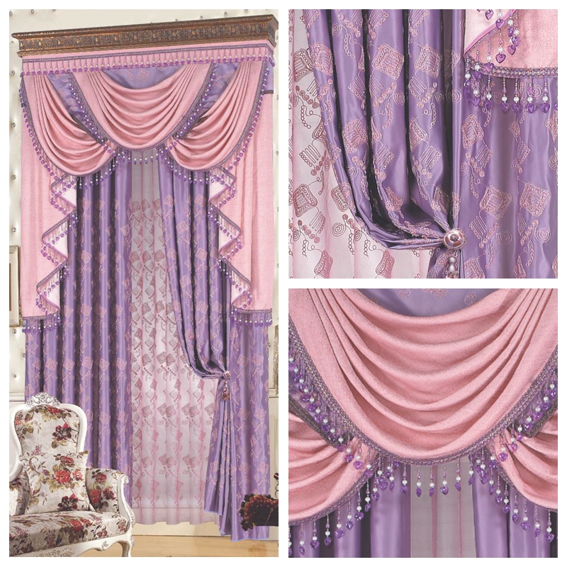 Peach The Blind Luxury Fashion Classical Pink Dodechedron Purple Quality  Embroidered Cloth Curtain Customize Blinds(