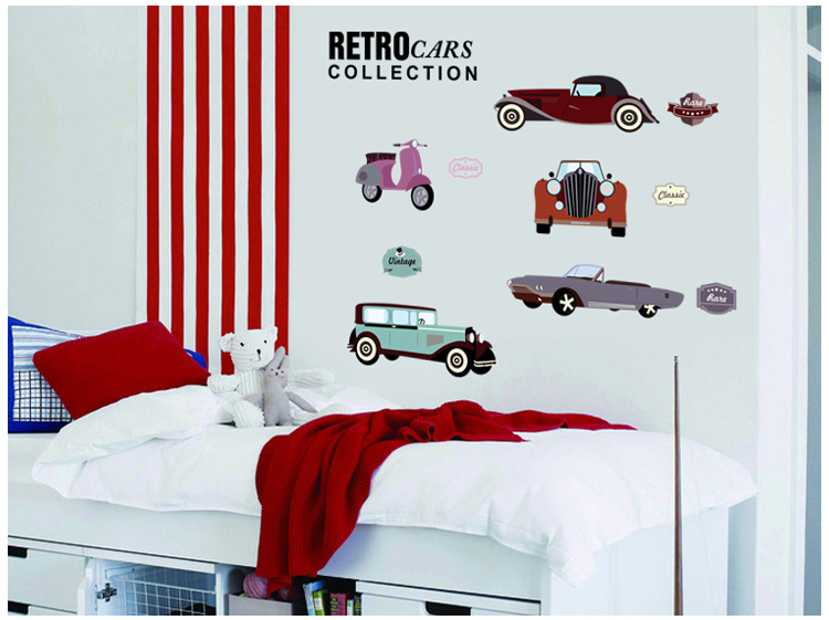 Online Shop Car Collector Retro Cars Classic Cars Wall Decals, Childrenu0027s  Room Nursery Removable Wall Stickers Murals | Aliexpress Mobile Part 88