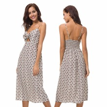 New hot summer Italian fashion personality temperament casual neutral high waist sexy sling print ladies dress