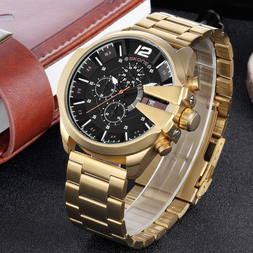 SKONE Stainless Steel Gold Quartz Watches Military Sport Wristwatch Chronograph Men Luxury Brand Watch Casual Male Clock Top hollow brand luxury binger wristwatch gold stainless steel casual personality trend automatic watch men orologi hot sale watches