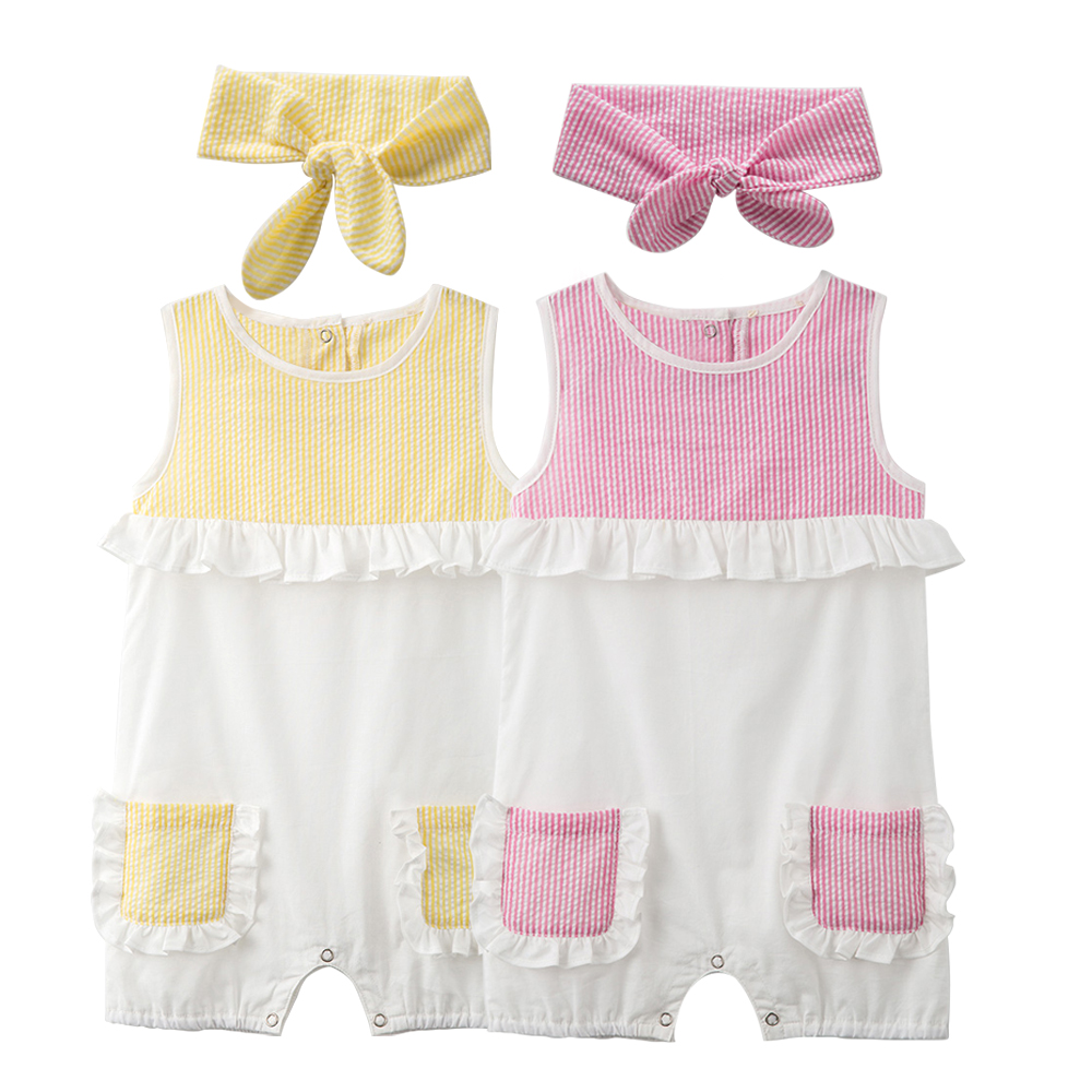 Cute Newborn Baby Romper Set 2 Pieces Romper and Headband Outfits Cotton Baby Jumpsuit Baby Girl Summer Clothes Girls Rompers 2017 summer toddler kids girls striped baby romper off shoulder flare sleeve cotton clothes jumpsuit outfits sunsuit 0 4t
