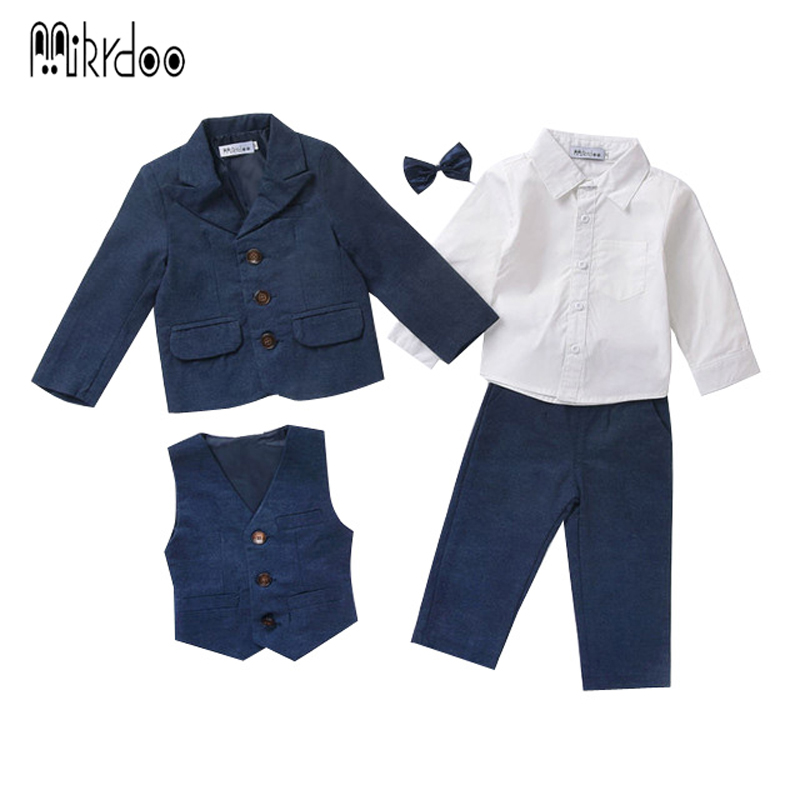 Baby boy clothes blazers tuexdo terno formal gentleman suit infant coat shirt vest pants wedding clothing set children costume 2018 spring newborn baby boy clothes gentleman baby boy long sleeved plaid shirt vest pants boy outfits shirt pants set