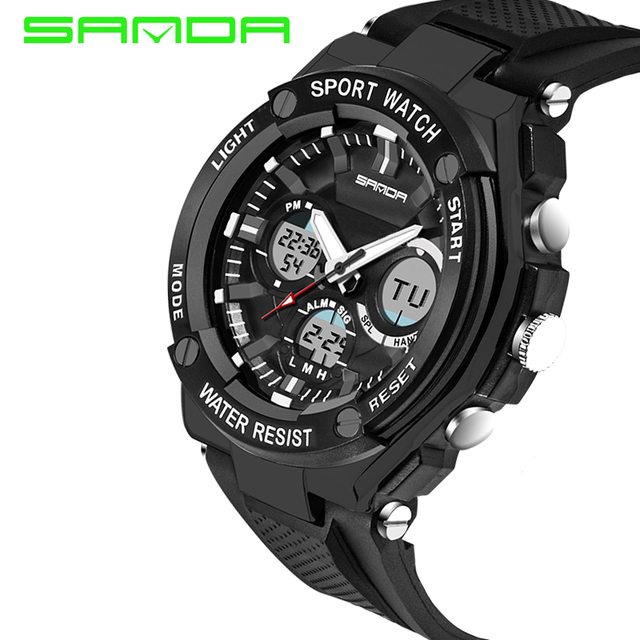 2016 Outdoor Sport Watch LED Rubber Dual Time 30M Waterproof Digital Wristwatch Gift for Men Boys Student No.733 OP001